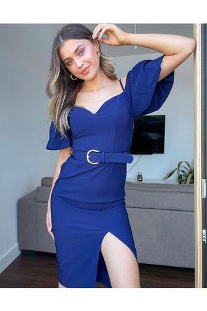 Little Mistress Dames Feestjurken - Off shoulder puff sleeve belted pencil dress with split in navy