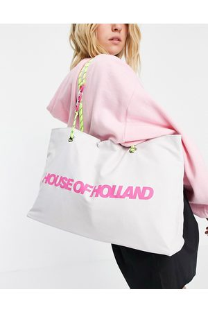 House Of Holland Fabric logo shopper bag with corded and chain straps in white