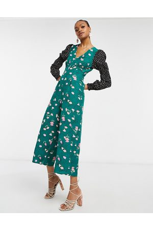 ASOS Double puff sleeve jumpsuit in mixed floral spot print-Multi