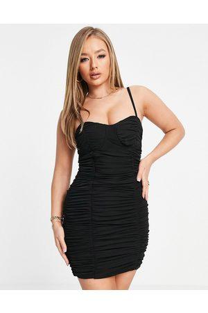 Club L London Ruched corset detail cami strap mini dress in black