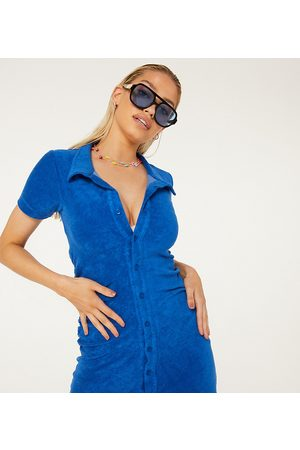 New Girl Order Exclusive terry towelling ruched mini beach dress in blue
