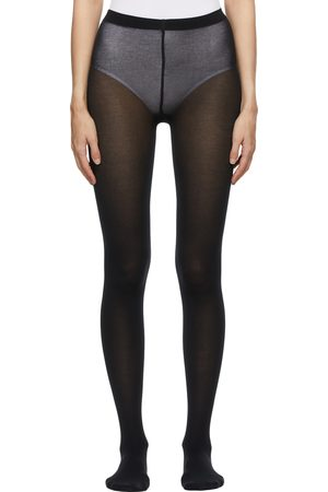 Wolford Dames Panty's - Black Cotton Velvet Tights