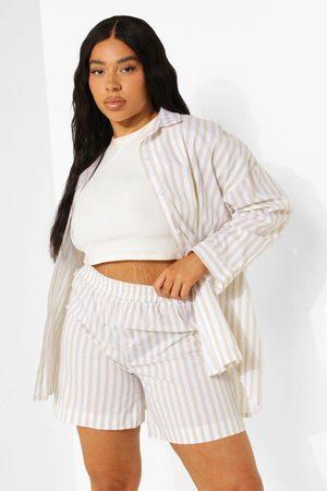 Boohoo Plus Oversized Gestreept Overhemd En Shorts Set