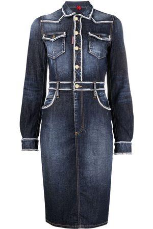 Dsquared2 Dames Jeans jurken - Beaded-trim denim dress