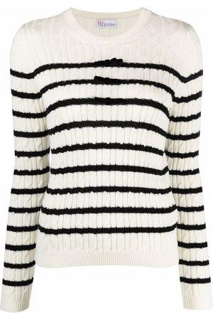 RED Valentino Dames Gebreide truien - Striped wool jumper
