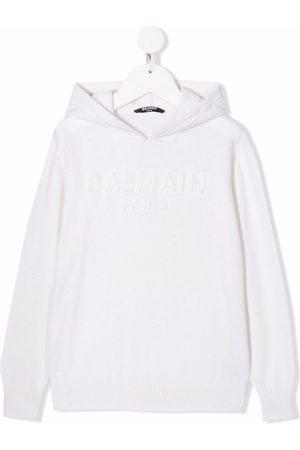 Balmain Logo-print knitted hoodie