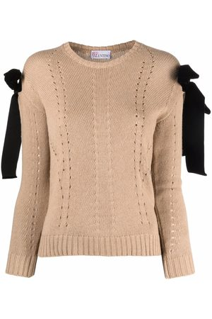 RED Valentino Bow-detail pointelle-knit jumper