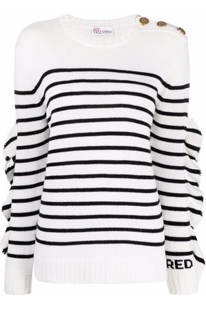 RED Valentino Ruffle-detail striped knitted jumper