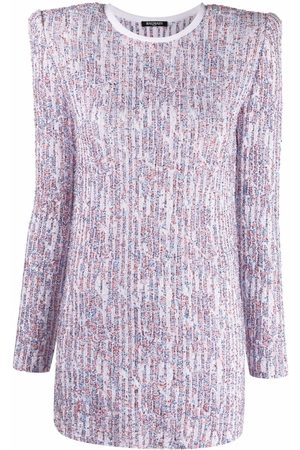 Balmain Sequin-embellished long-sleeve dress