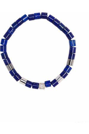 Anil Arjandas Lapis lazuli, and diamond beaded bracelet