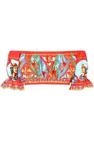 Dolce & Gabbana Graphic-print off-shoulder crop top