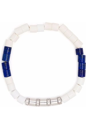 Anil Arjandas 18kt white gold, diamond, lapis lazuli and white agate beaded bracelet