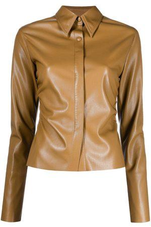 Nanushka Dames T-shirts - Shado faux-leather shirt