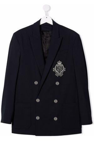Balmain TEEN logo-embroidered double-breasted blazer