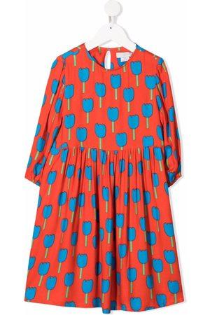 Stella McCartney Meisjes Casual jurken - Tulips-print long-sleeve dress