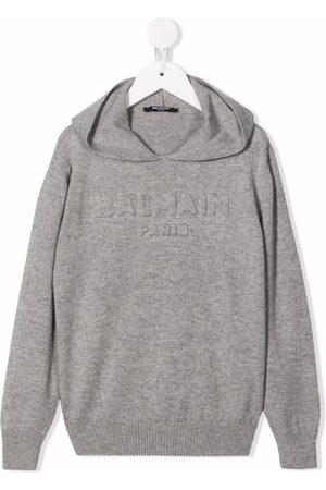 Balmain Debossed-logo hoodie