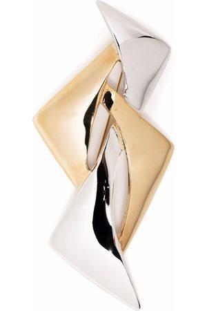 Pierre Cardin 1980s two-tone geometric-shaped brooch