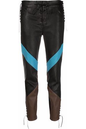 Etro Dames Leren broeken - Colour-block leather trousers