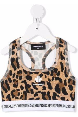 Dsquared2 Meisjes Tops - Leopard print cropped tank top