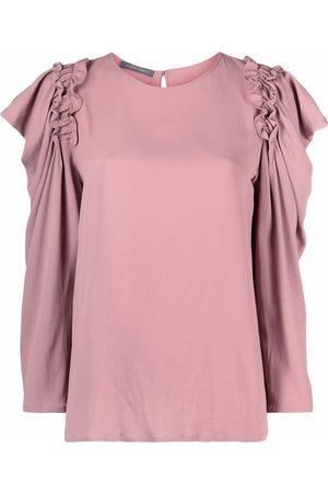 Alberta Ferretti Dames Blouses - Ruched long-sleeved blouse