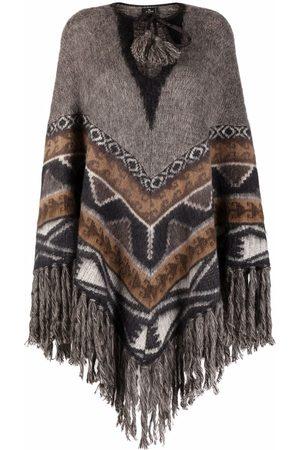 Etro Dames Poncho's - Carpet-print jacquard poncho