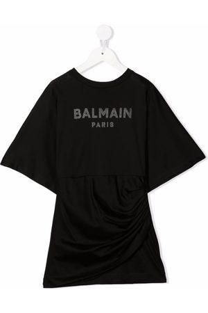 Balmain Meisjes Geprinte jurken - Logo-print T-shirt dress