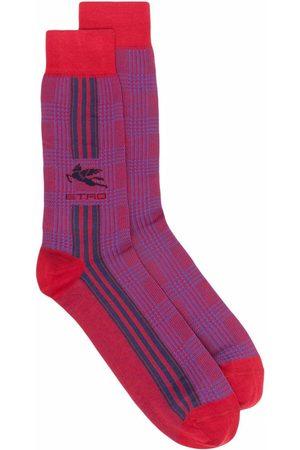 Etro Heren Sokken - Striped logo mid-calf socks