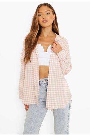 Boohoo Oversized Gingham Overhemd Met Textuur, Blush
