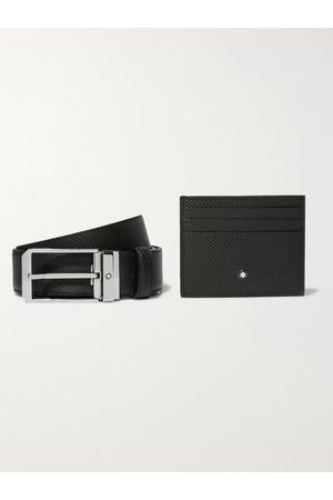 Mont Blanc 3.5cm Woven Leather Belt and Cardholder Gift Set
