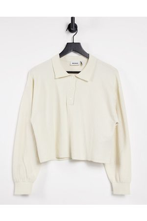 Weekday Dames Sweaters - Helga organic blend cotton co-ord knitted polo sweater in -Neutral
