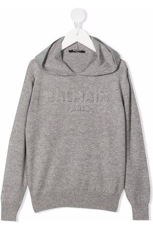 Balmain Debossed-logo knitted hoodie