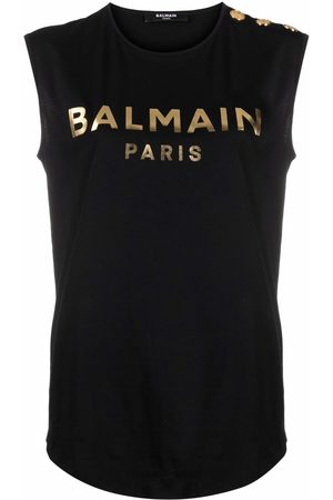 Balmain Dames Tanktops - 3 BUTTONS METALLIC LOGO TANK TOP