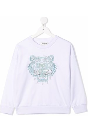 Kenzo Sweaters - Tiger-embroidered cotton-blend sweatshirt
