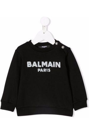 Balmain Logo-sequined cotton sweatshirt