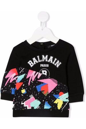 Balmain Sweaters - Logo-print cotton sweatshirt