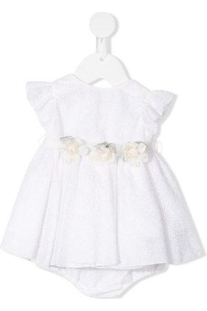 LA STUPENDERIA Meisjes Feestjurken - Gloria floral belt lace dress set