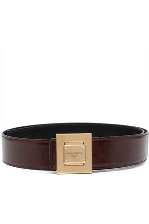 Dolce & Gabbana Heren Riemen - Engraved-logo leather buckle belt