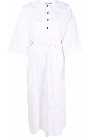 Ganni Dames Midi jurken - Broderie anglaise midi dress