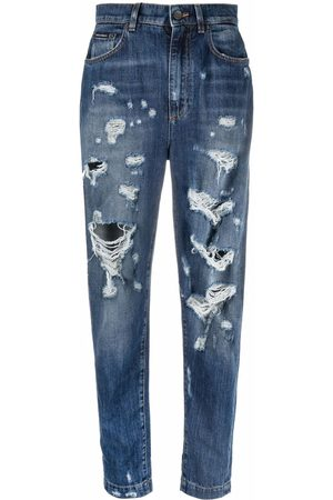 Dolce & Gabbana Dames High waisted - High-waisted distressed tapered jeans