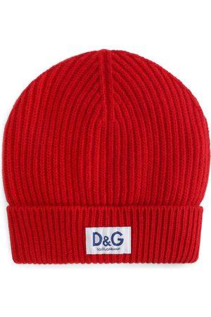 Dolce & Gabbana Heren Mutsen - Logo-patch ribbed-knit beanie