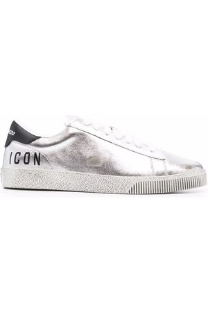 Dsquared2 Distressed metallic-effect low-top sneakers