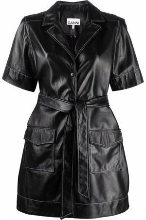 Ganni Dames Korte jurken - Leather shirt mini dress