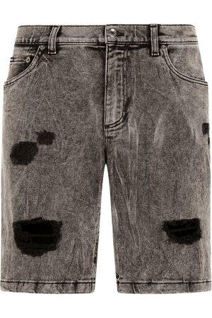 Dolce & Gabbana Heren Shorts - Distressed knee-length denim shorts