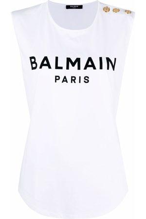 Balmain Dames Tanktops - Logo-print tank top