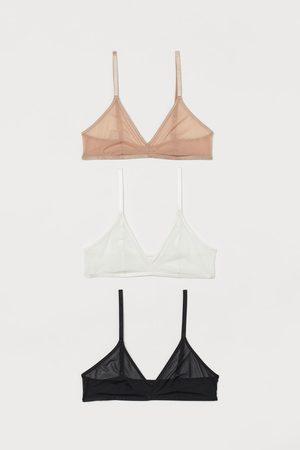 H&M Dames Sokken - Set van 3 softbeha's van mesh
