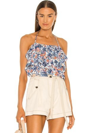 LINE & DOT Sunday Ruffle Tropical Print Halter Top in