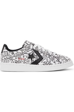 Converse White & Black Keith Haring Edition Leather Pro Ox Sneakers