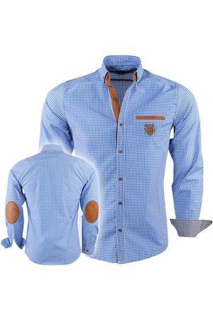 New Republic Heren Overhemden - Megaman heren overhemd slimfit met ellenboogstukken en suède details geblokt