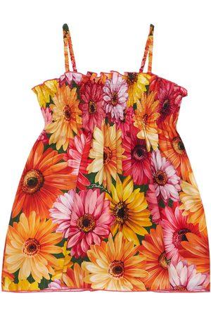 DOLCE & GABBANA Meisjes Geprinte jurken - Gerbera Print Cotton Dress
