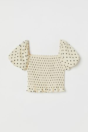 H&M Crop top met pofmouwen